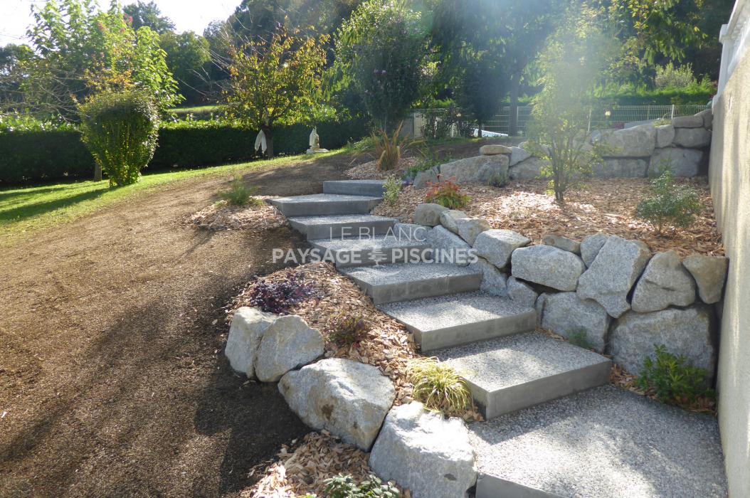 Cr ation d 39 un escalier paysager montgaillard 65 for Escalier paysager