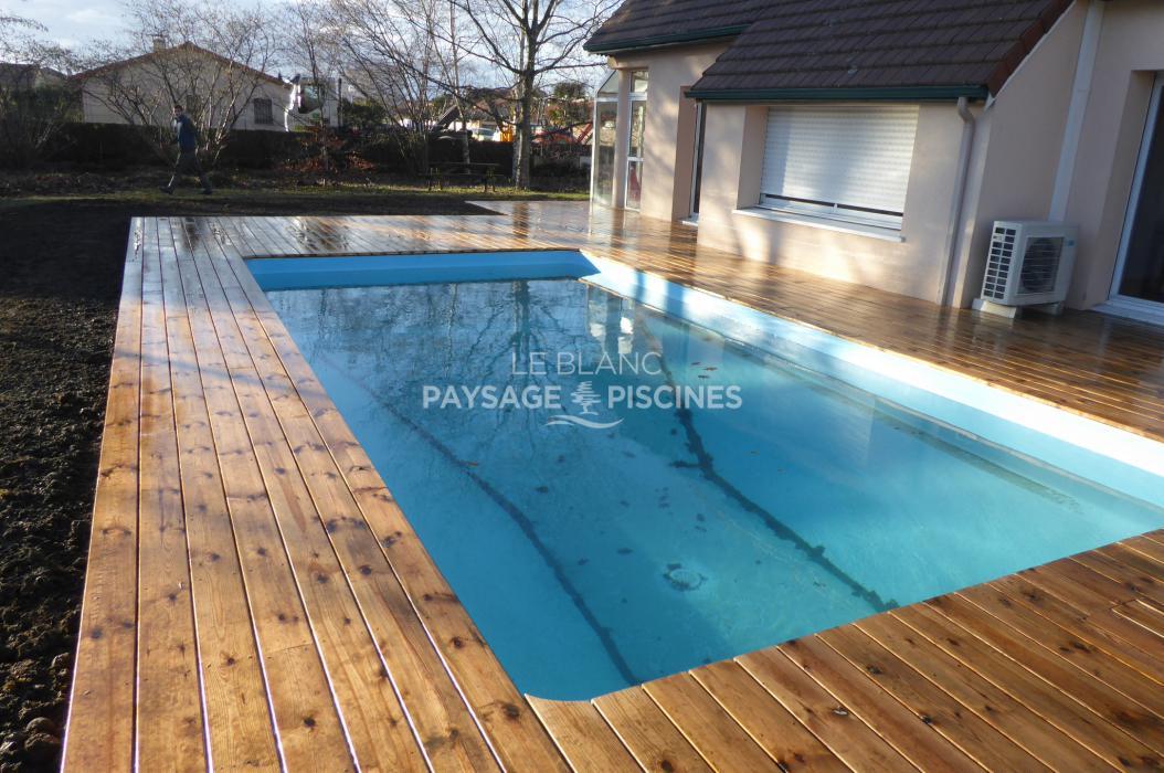 Terrasse bois autour piscine aureilhan 65 leblanc - Terrasse autour piscine ...